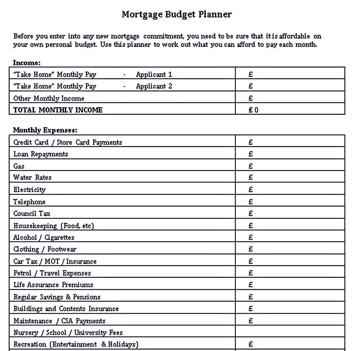 Monthly Budget Planners Template
