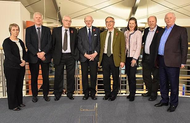 L to R: Mairead Nic Neacail, Iain Tormod MacLeòid, Murchadh Peutan, Ian MacDhòmhnaill, Boyd Robasdan, Lucilla Noble, Dòmhnall Dòmhnallach & Calum Greumac