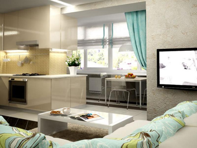 дизайн кухни совмещенной с балконом 5