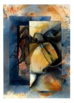 Ursula Kolbe 1990-1999 Watercolour Collages 'Jacket of a Traveller II'. Watercolour on paper