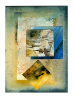 Ursula Kolbe 1990-1999 Watercolour Collages 'Lisbon Memory IV'. Watercolour on paper