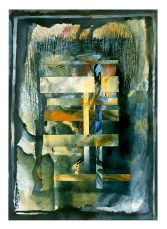 Ursula Kolbe 1990-1999 Watercolour Collages 'Threads VI'. Watercolour on paper