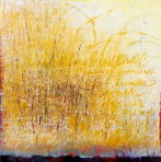 Ursula Kolbe 'Earth Voices II'. Oil and oil stick on canvas 100x100cm