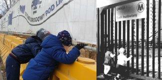 Płot budowy POW w 2019 i płot budowy metra w 1985. Ciekawość dziecięca ta sama.