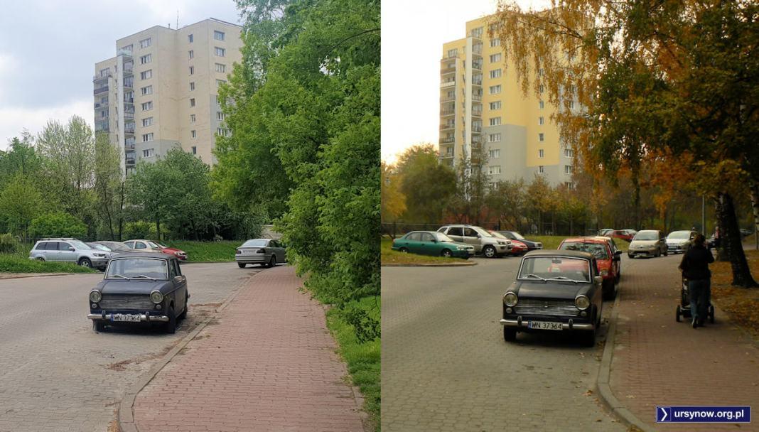 Po lewej - 2021, po prawej - 2011. Ten sam fragment uliczki Melodyjnej i ten sam Fiat 1100R. W 2011 jeszcze był na chodzie. Fot. Maciej Mazur