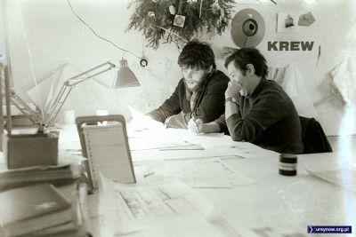 W pracowni architektonicznej trwa praca koncepcyjna. Co to za KREW? Nie wiadomo. Rok chyba 1975, fot. Włodzimierz Witaszewski.