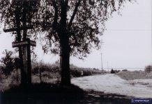 Wzdłuż polnej drogi stoją słupy energii elektrycznej. Jedyna spacerująca kobieta, ubrana w jasną, letnią sukienkę, udaje się w kierunku zachodnim do polnej uliczki Mandarynki. Zdjęcie ze zbiorów rodziny Pytko.
