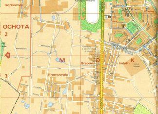 Ursynów Północny i Aleja KEN istniejąca tylko teoretycznie, bo od Bartoka na południe jest przecież wykopem metra. Plan PPWK, 1987