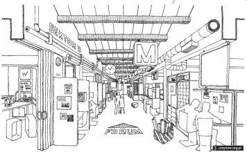 """Główny korytarz projektowanej szkoły ponadpodstawowej. """"Architektura"""", 1975"""