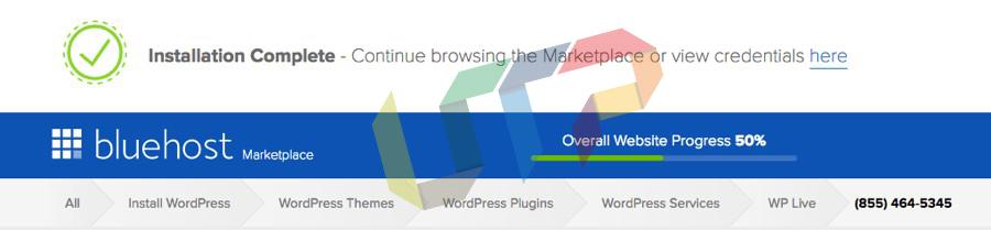 bluehost WordPress installation complete