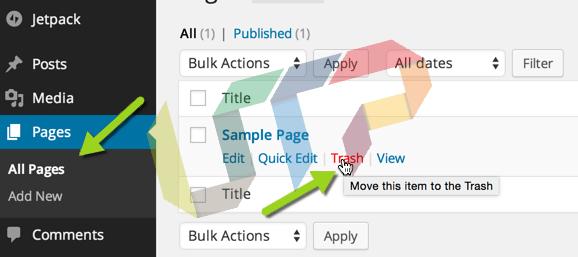 delete default WordPress post