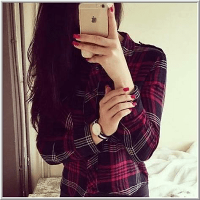 Cute and Stylish Girl Profile Picture with iPhone
