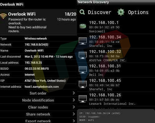 Network Discovery wifi hacking app for android