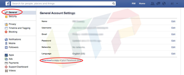 Backup Facebook Account Data
