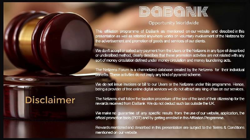 DaBank - Disclaimer