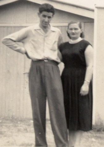 Vince & Peg 1959 rear of shop in Urunga, NSW