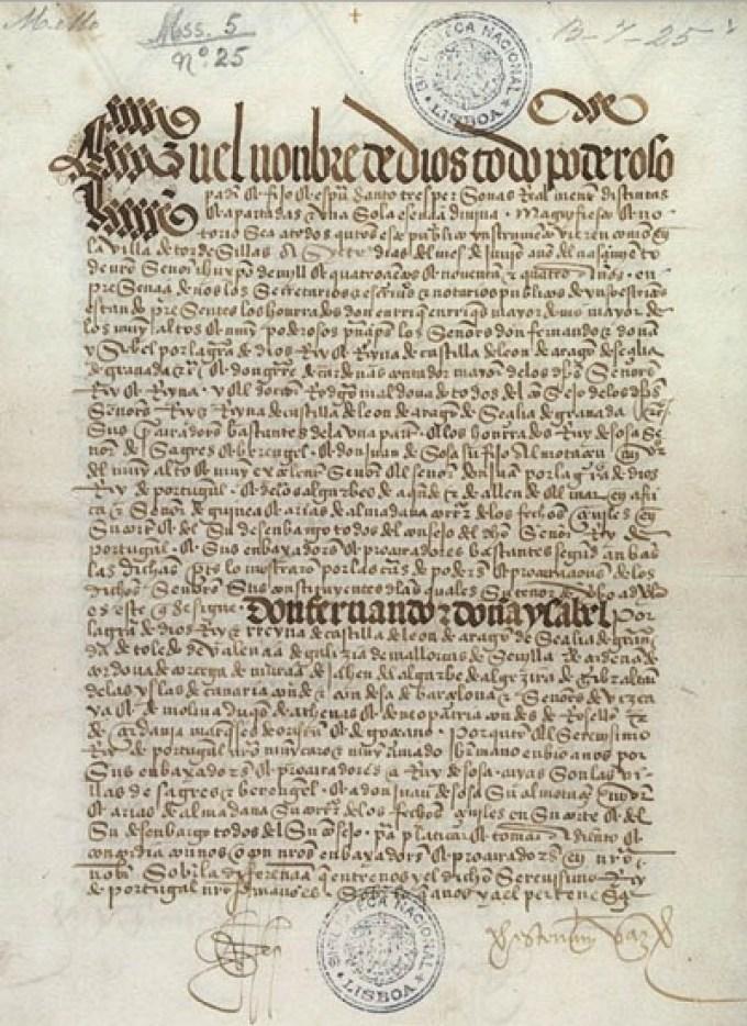 perjanjian tordesillas ditulis pada naskah bersejarah ini