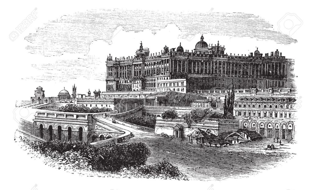 13771751 the royal palace of madrid in spain during the 1890s vintage engraving old engraved illustration of