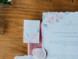 Watercolour Rose Design printed onto plantable seed paper
