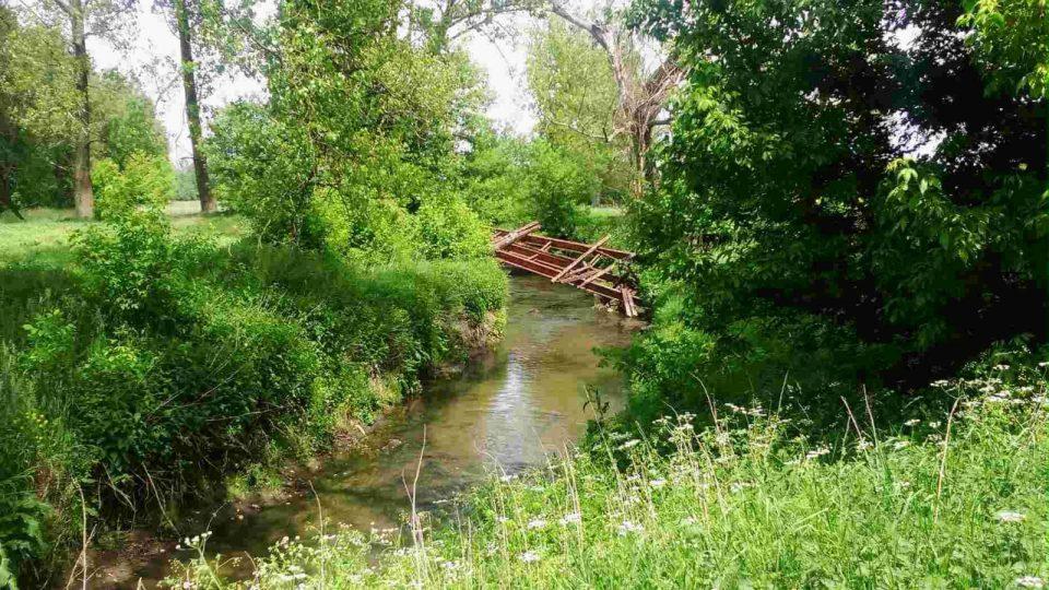 rzeka Ner, ruiny mostu międzyrzecze Neru i Dobrzynki