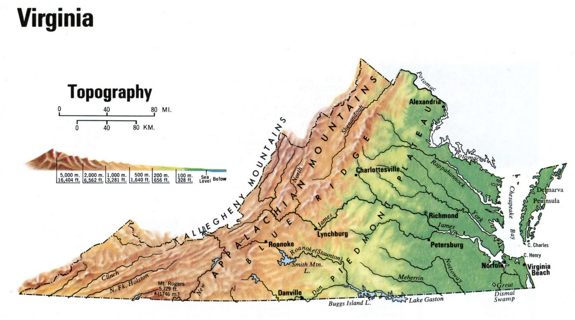 Virginia Topographic Map Ee Topographical Map Of