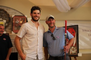 Dowd and the fan who bought his stick at the auction.