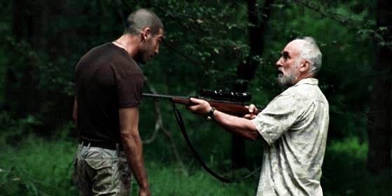 Dale points gun rifle at shane walking dead jon bernthal jeffr