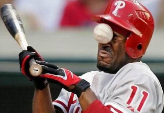 baseball hit face