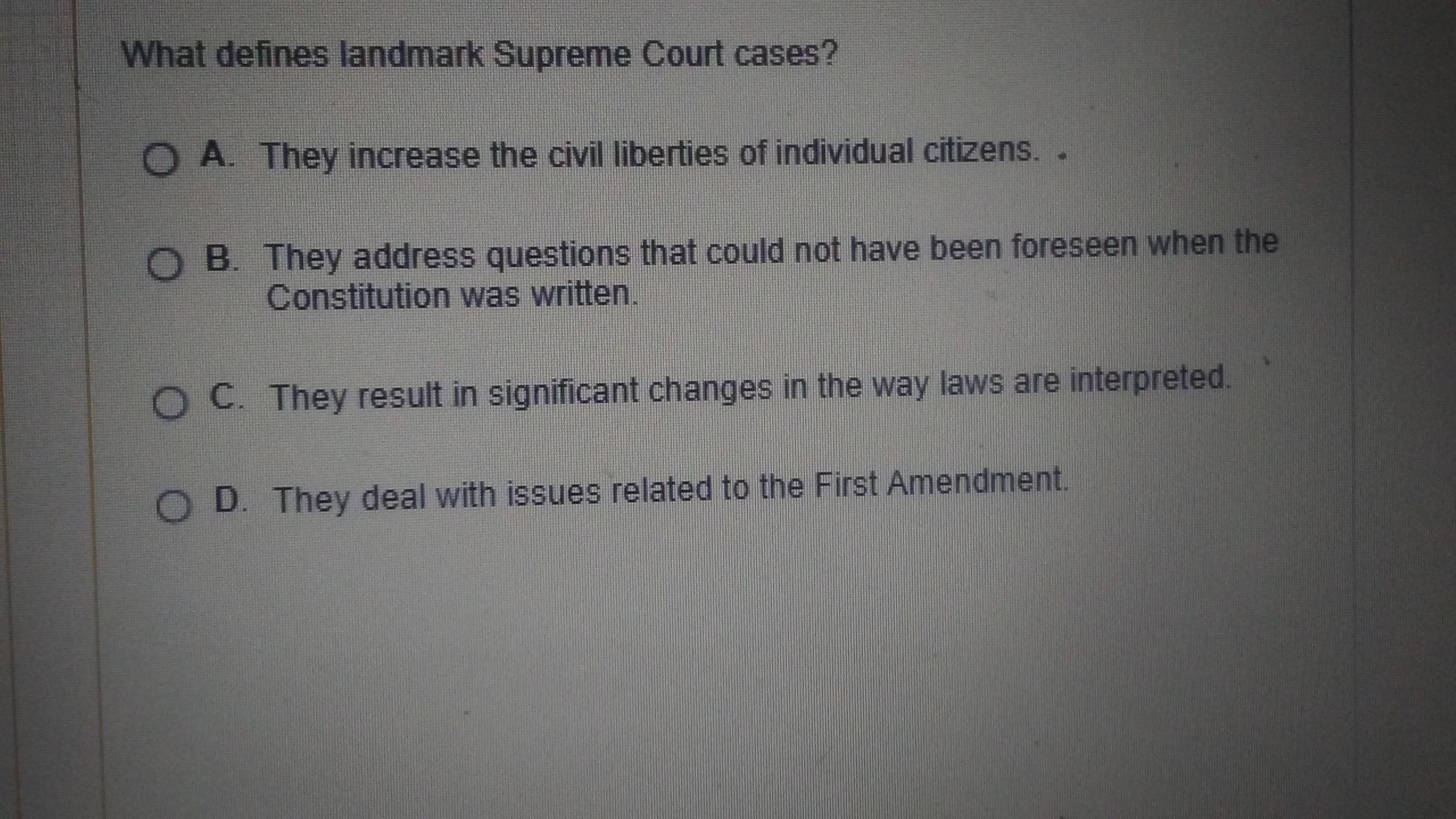 What Defines Landmark Supreme Court Cases