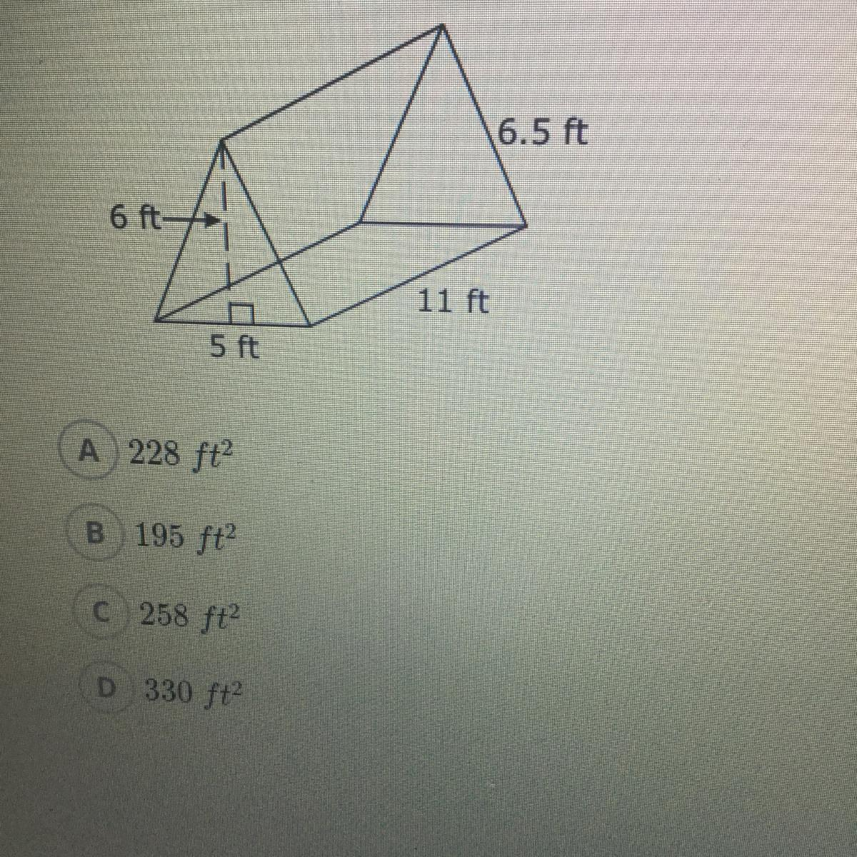 What Is The Surface Area Of This Triangular Prism A 228