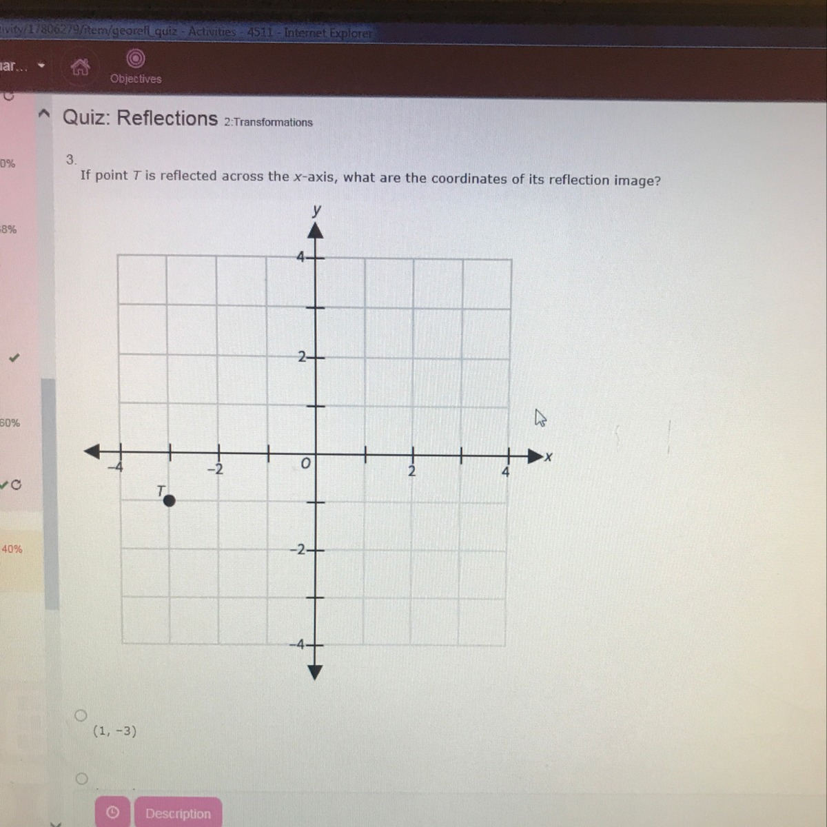 If Point T Is Reflected Across The X Axis What The