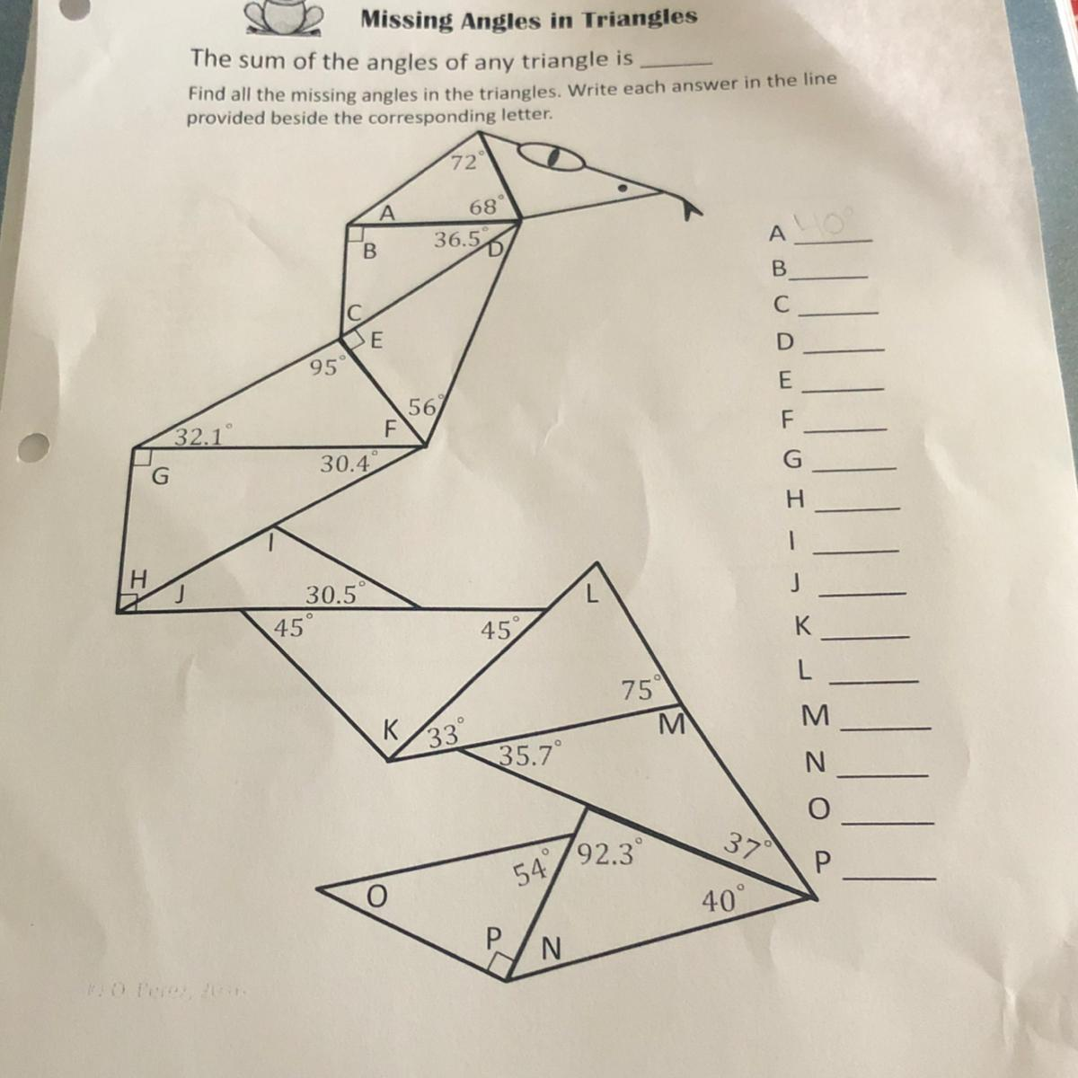 Missing Angles In Triangles Worksheet Answers