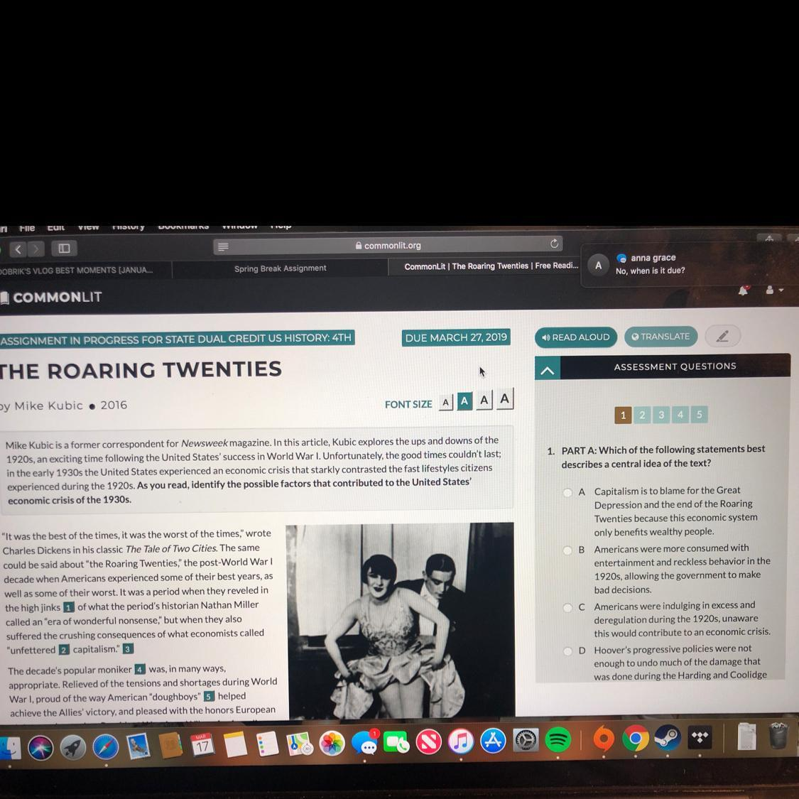 The Roaring Twenties The Business Of America Worksheet