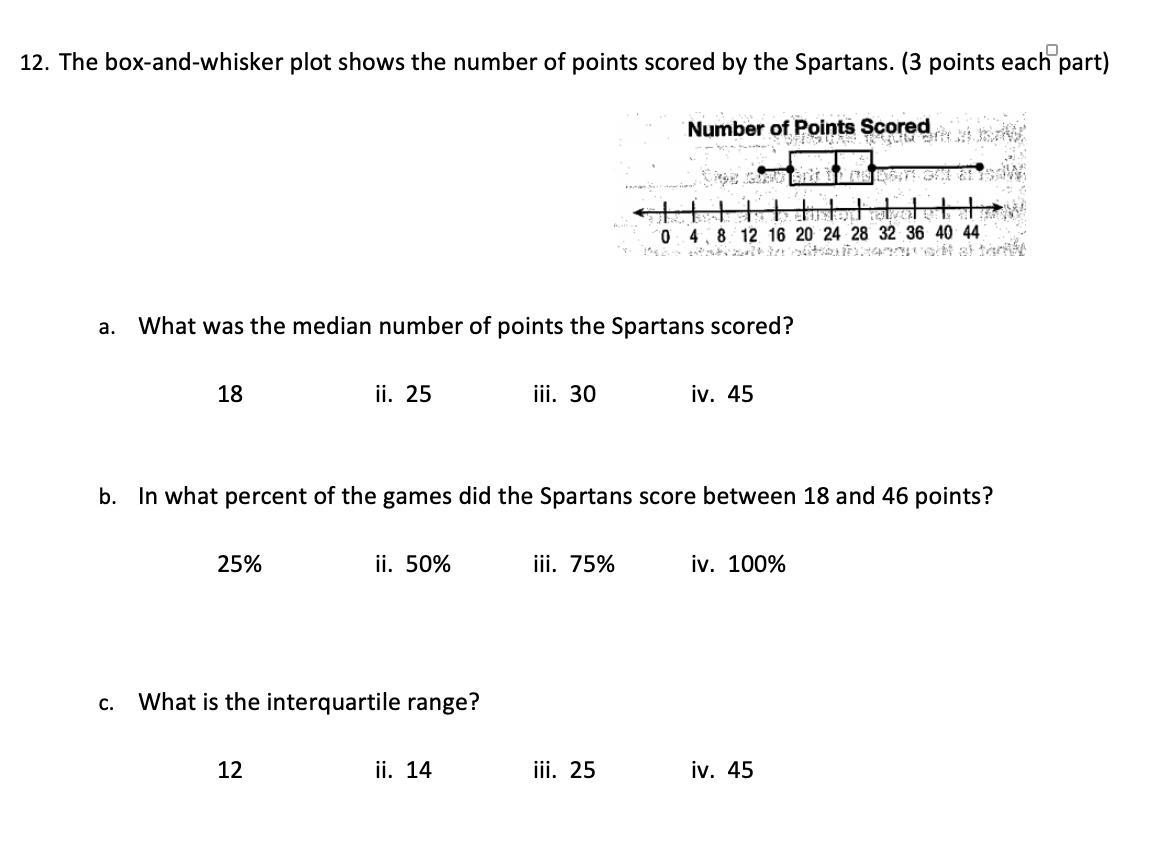 Answer Quick Please The Box And Whisker Plot Shows The