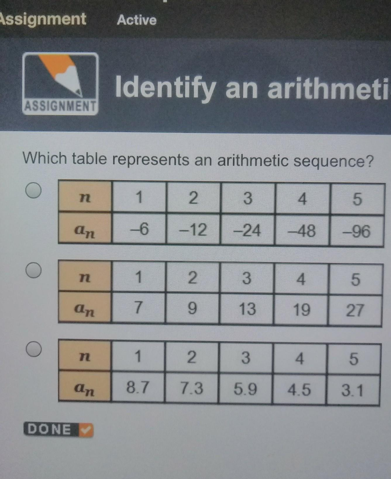 Which Table Represents An Arithmetic Sequence