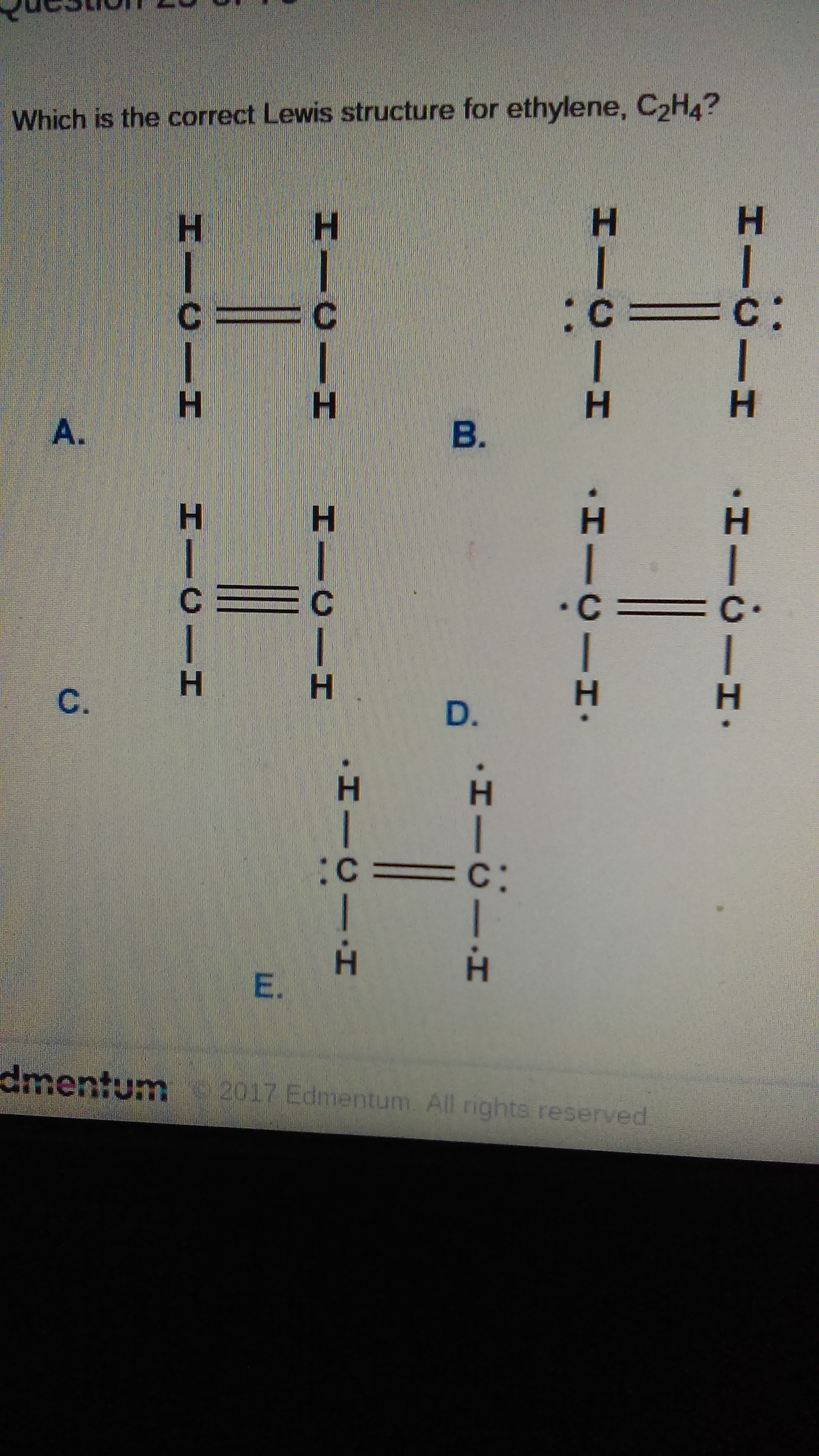 Which Is The Correct Lewis Structure For Ethylene C2h4