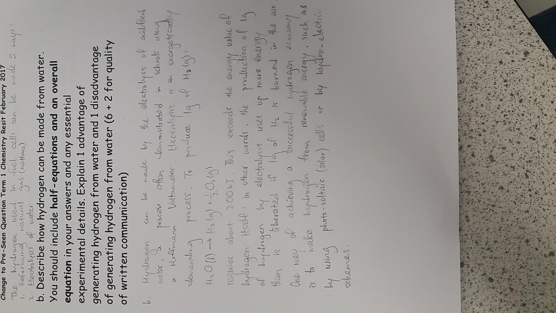 Water Electrolysis Half Equations
