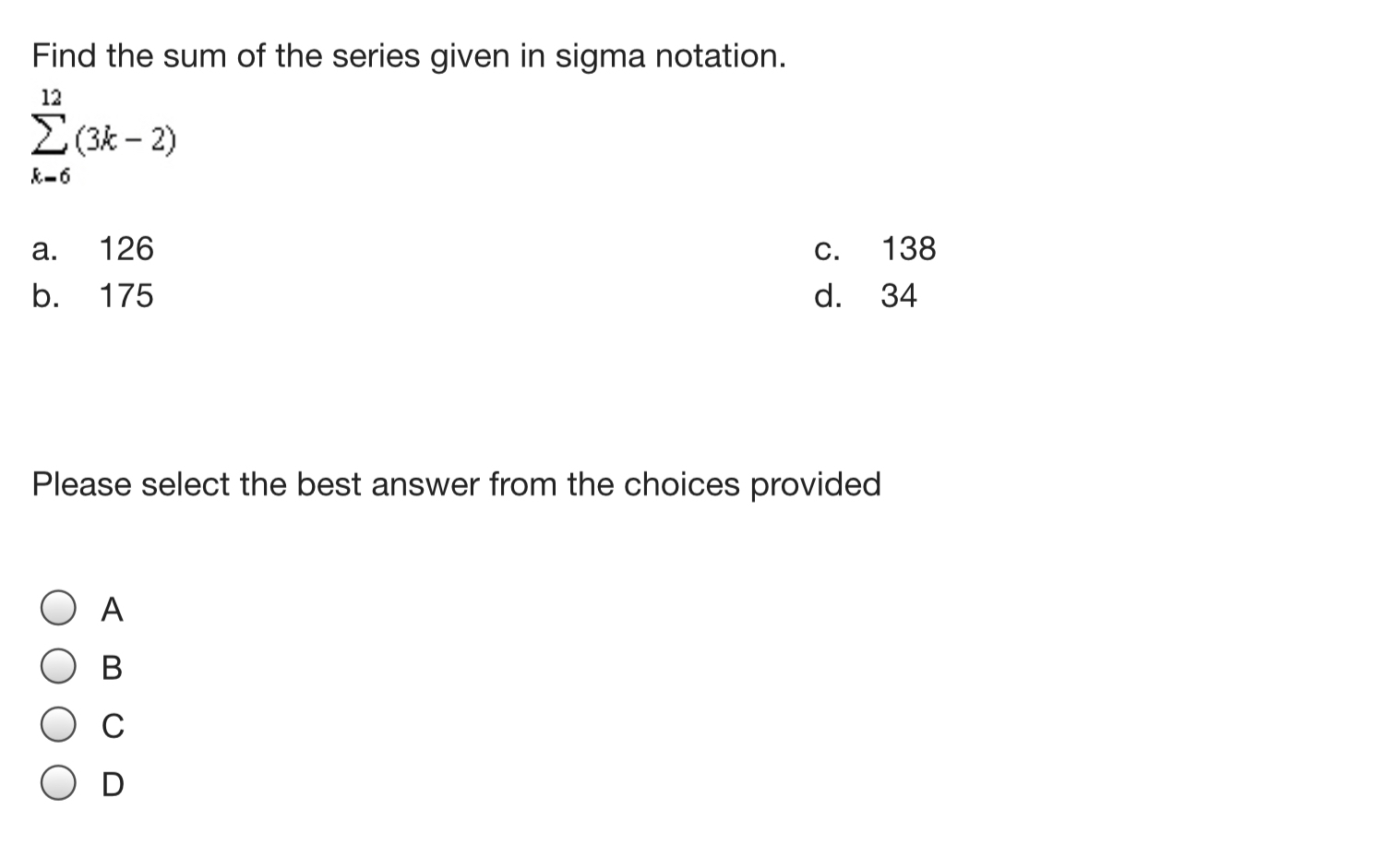 Find The Sum Of The Series Given In Sigma Notation