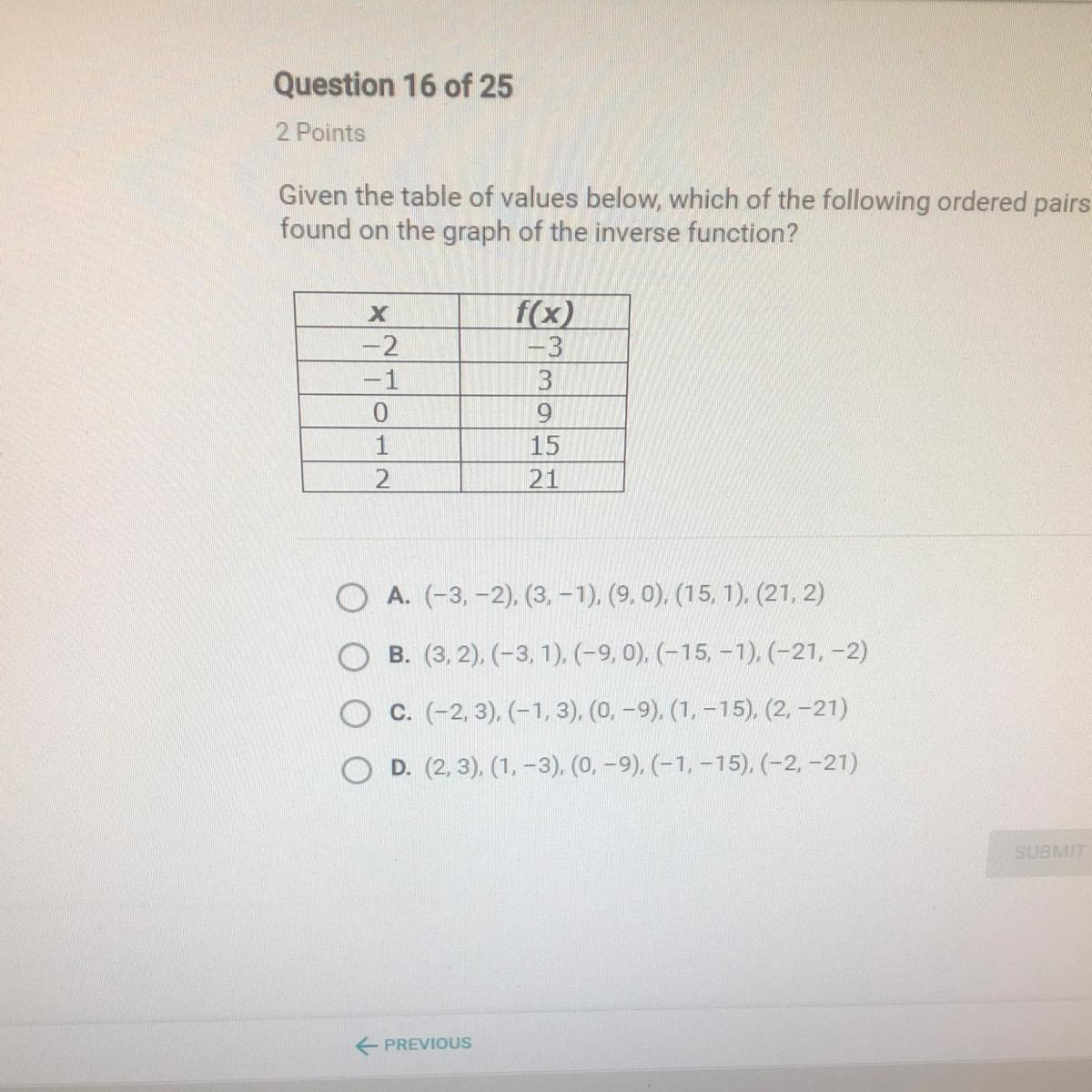 Given The Table Of Values Below Which Of The Following