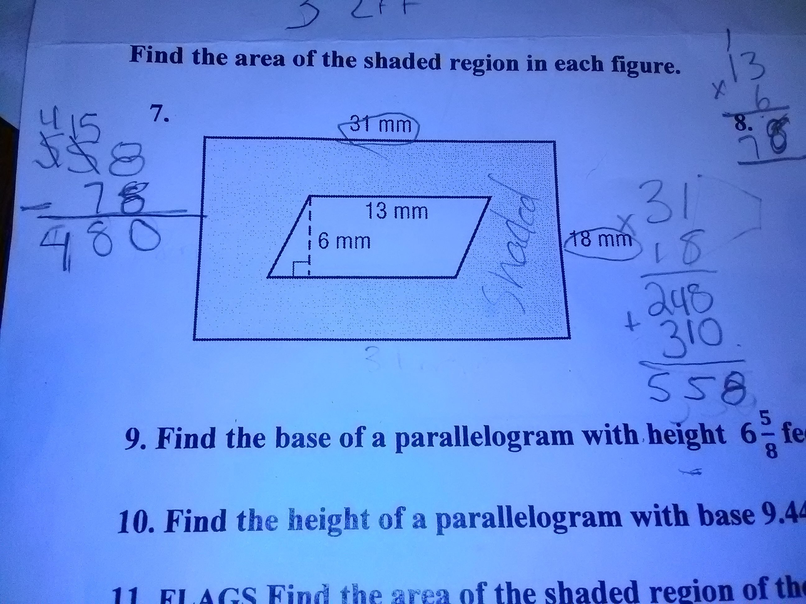 Find The Area Of Shaded Region In Each Figure