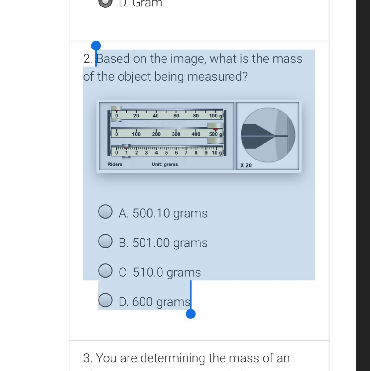 Based On The Image What Is The Mass Of The Object Being