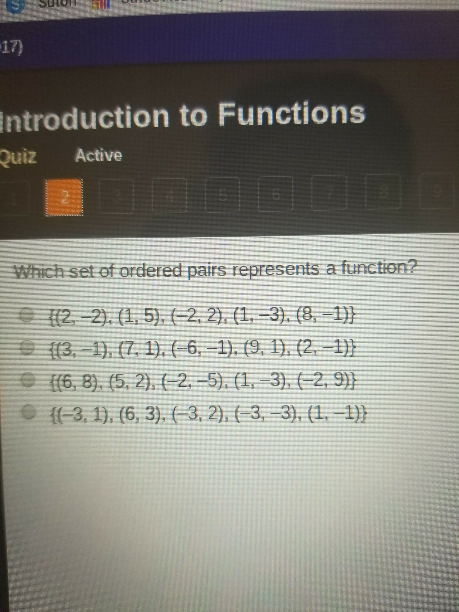 Which Set Of Ordered Pairs Represents A Function