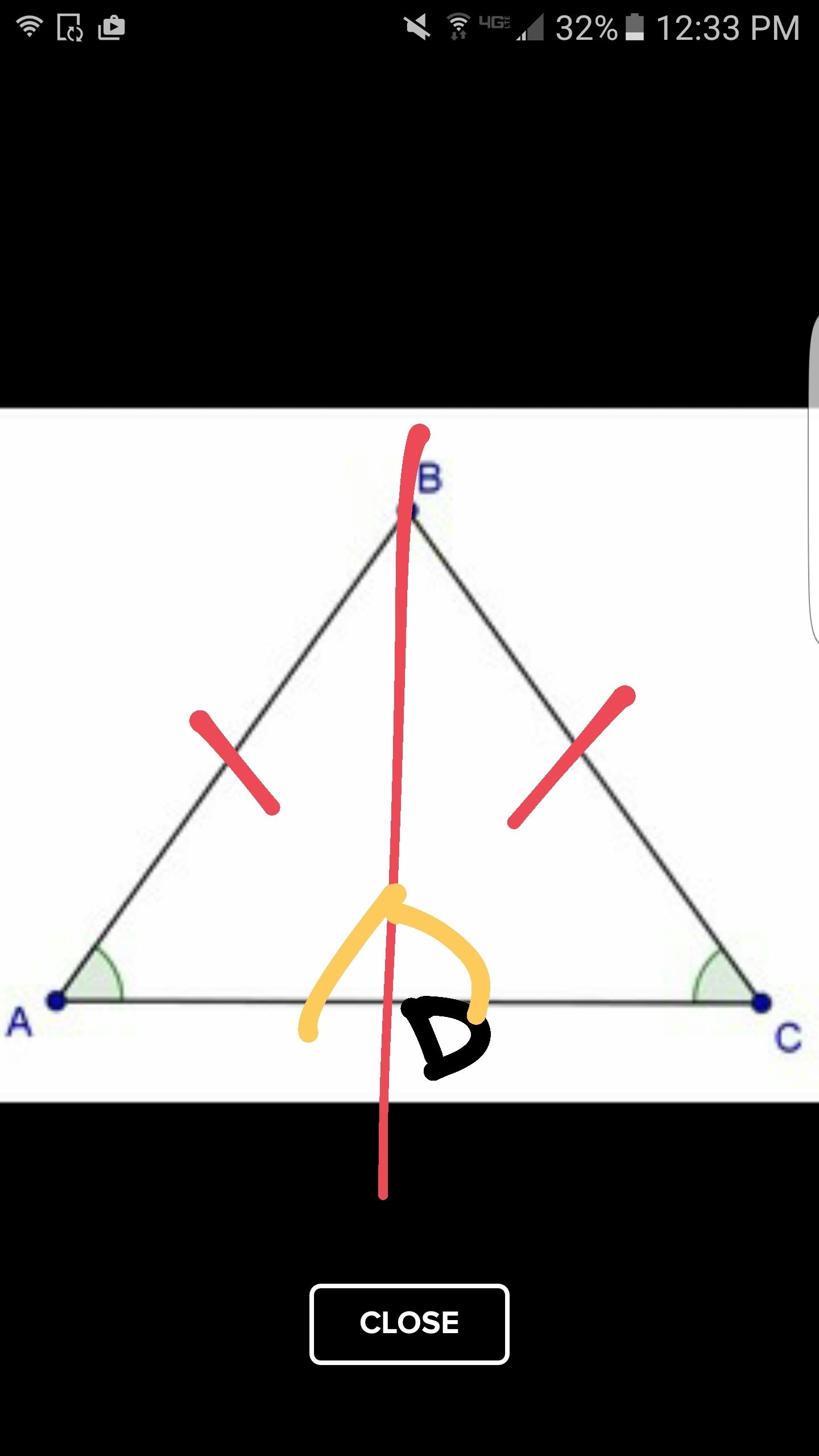 Given Base Bac And Acb Are Congruent Prove Abc Is An Isosceles Triangle When Completed
