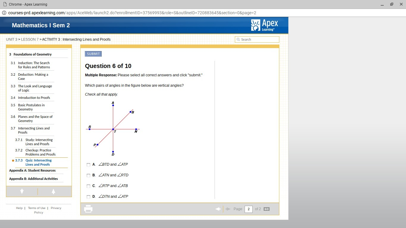 35 In The Diagram Which Angles Are Vertical Angles Check