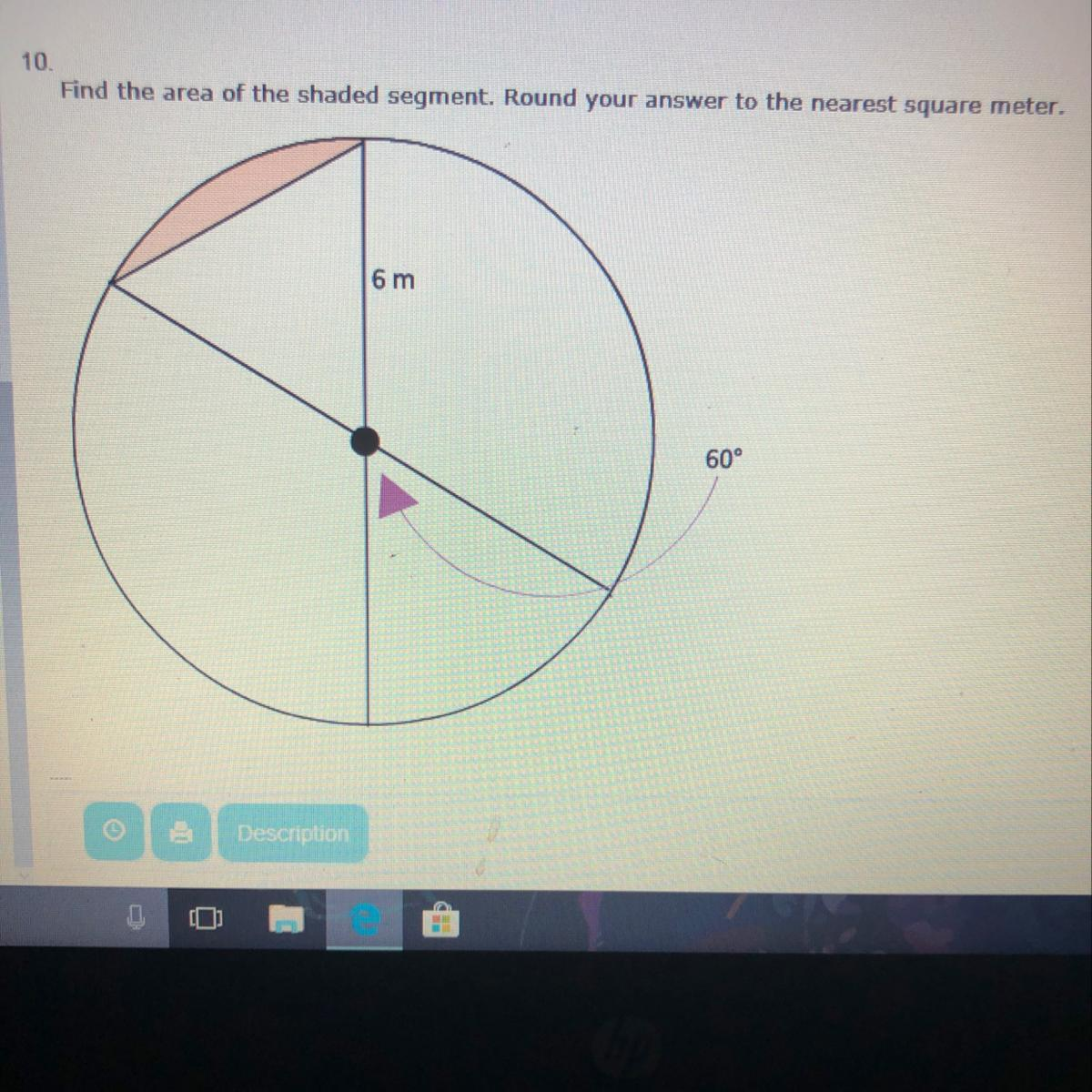 Find The Area Of The Shaded Segment Round Your Answer