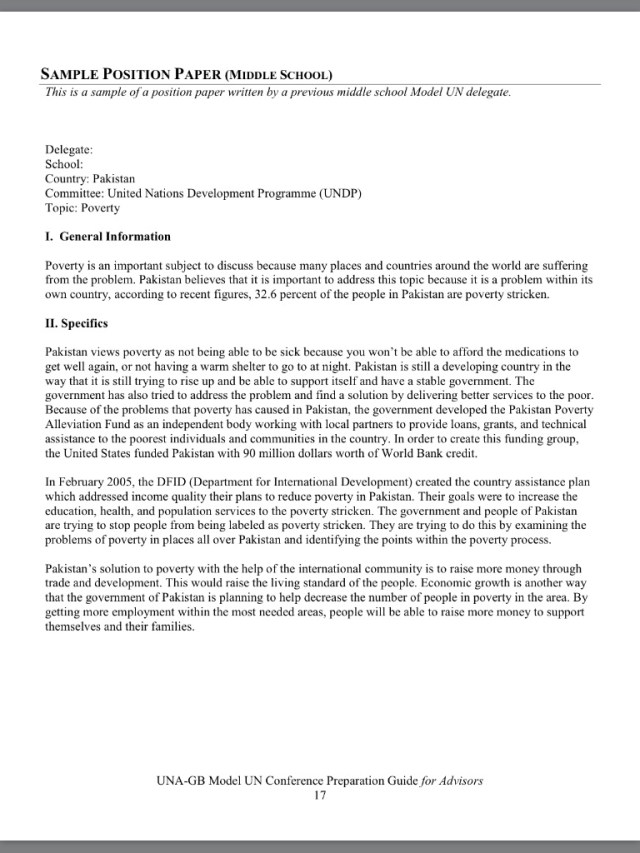 Can anyone help me write my MUN position paper?This is the example