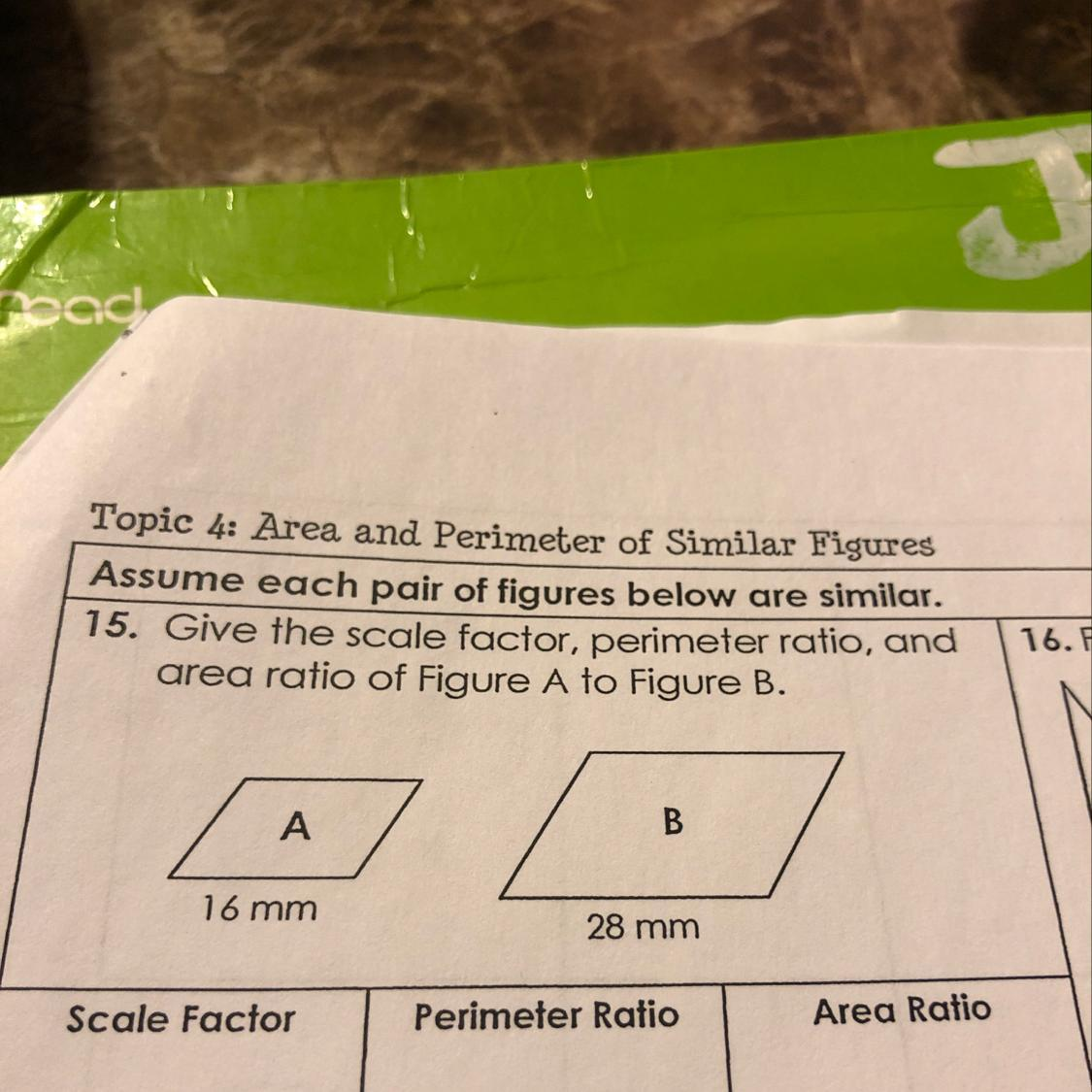 Give The Scale Factor Perimeter Ratio And Area Ratio Of