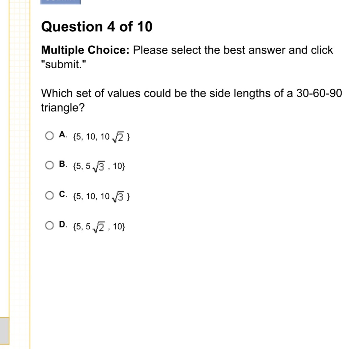 Which Set Of Values Could Be The Side Lengths Of A 30 60