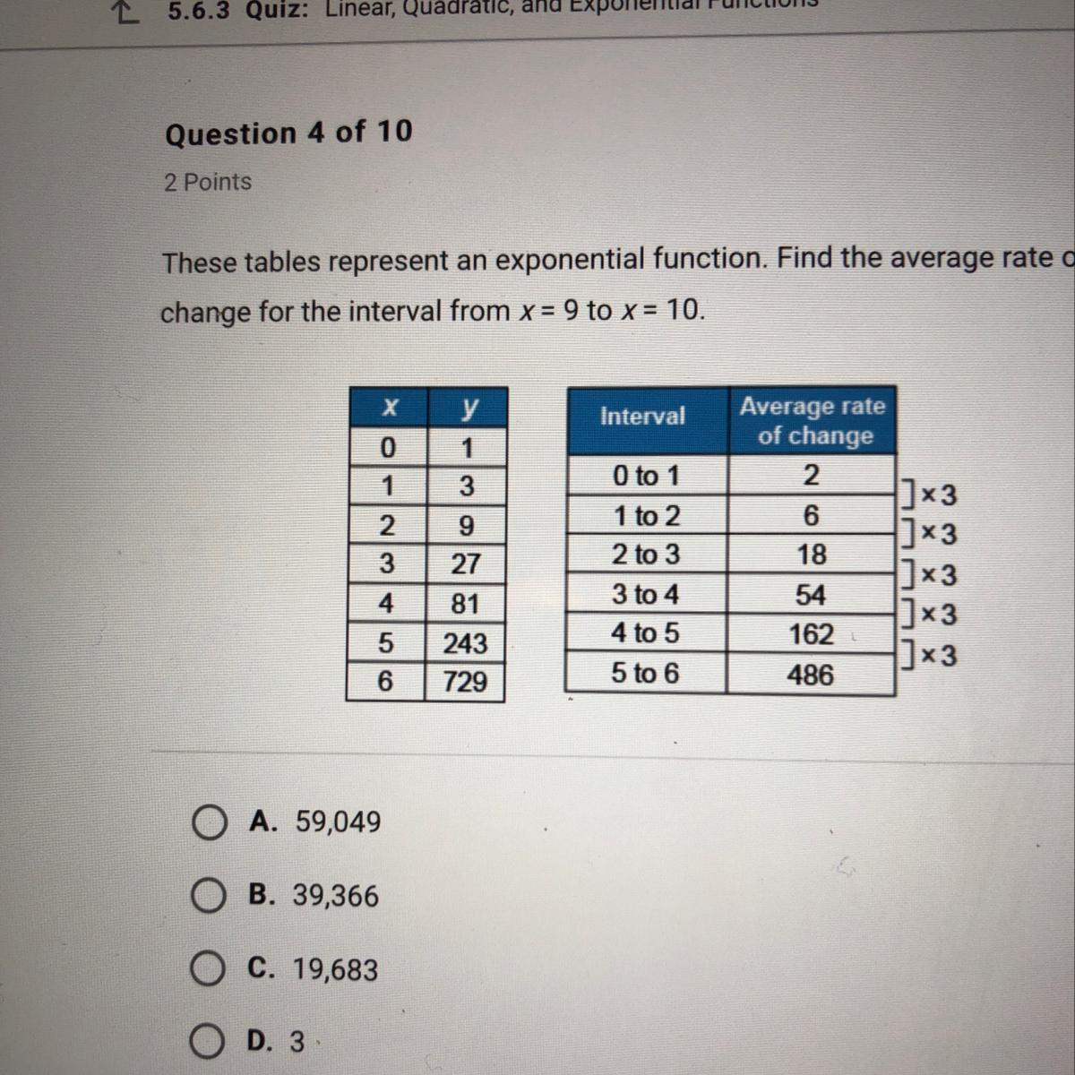 These Tables Represent An Exponential Function Find The
