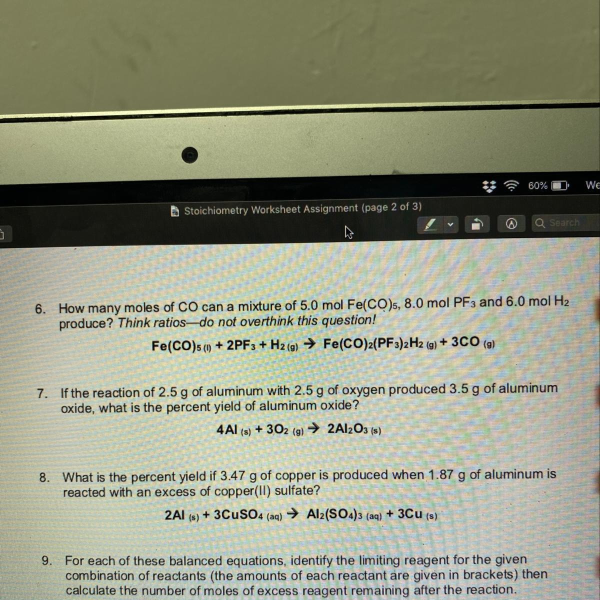 Three Stoichiometry Questions